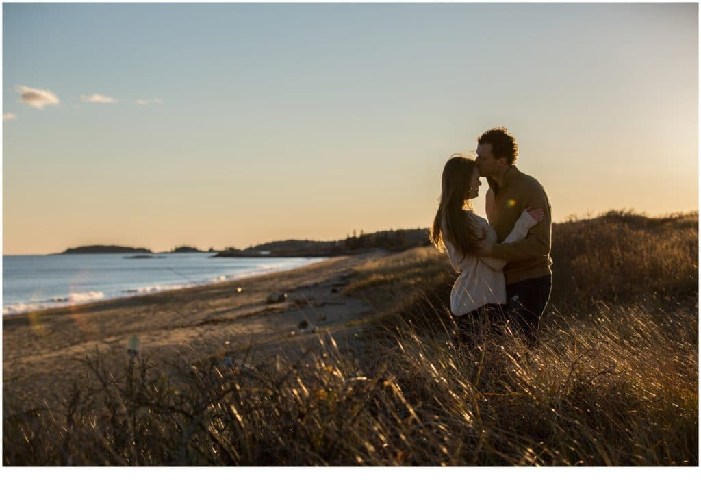 Emily and Justin Golden Hour Reid State Park Engagement
