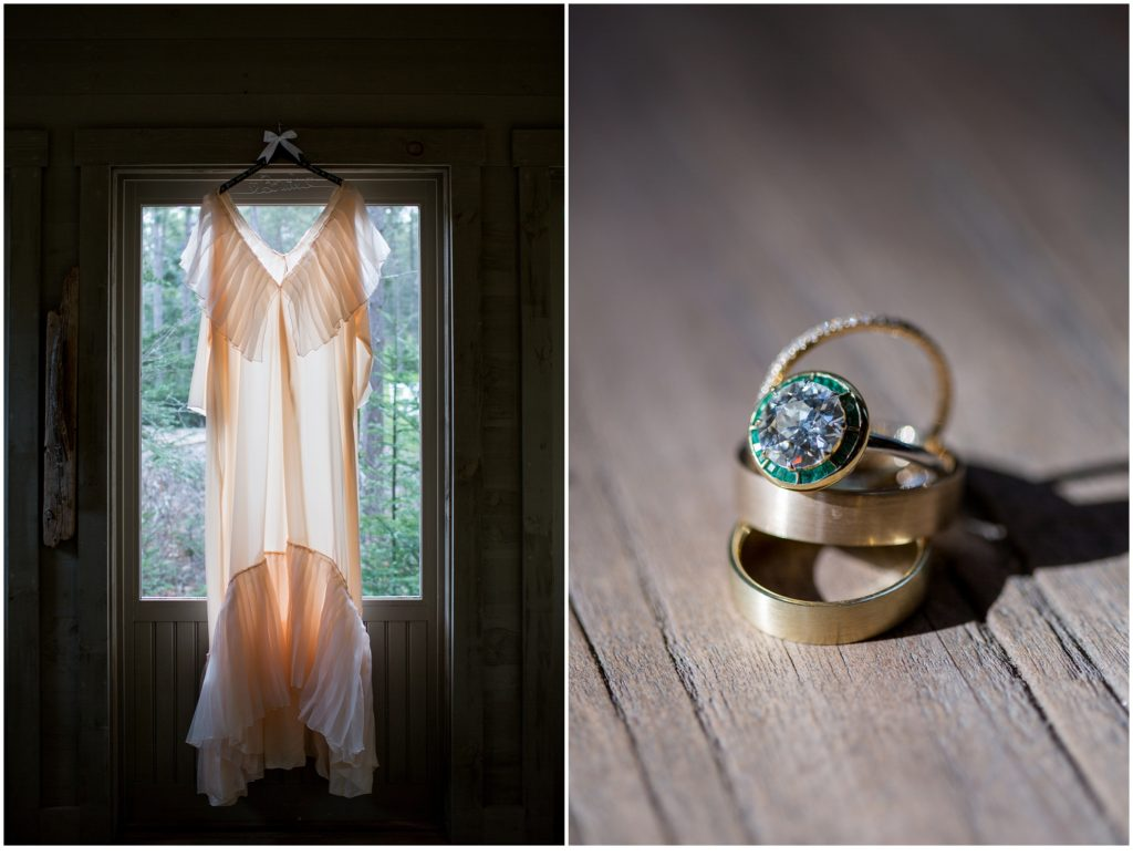 dress and rings - Jill and Kevin's Intimate Wedding at Hidden Pond, Kennebunkport