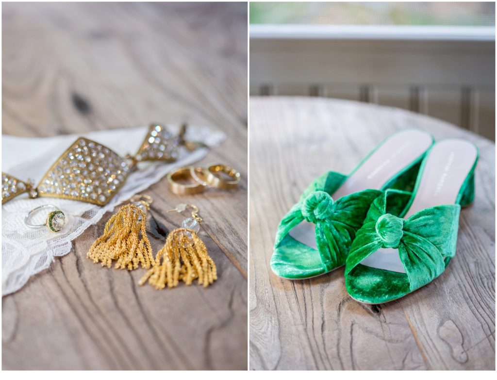 bride's green shoes - Jill and Kevin's Intimate Wedding at Hidden Pond, Kennebunkport