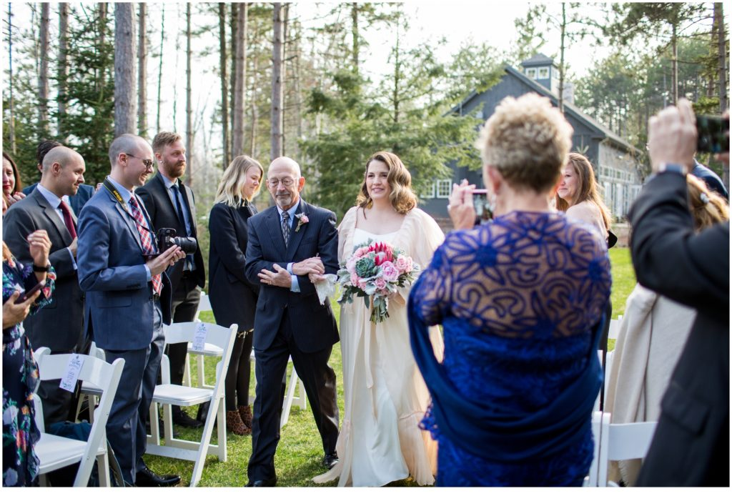 father walking bride down the aisle - Jill and Kevin's Intimate Wedding at Hidden Pond, Kennebunkport