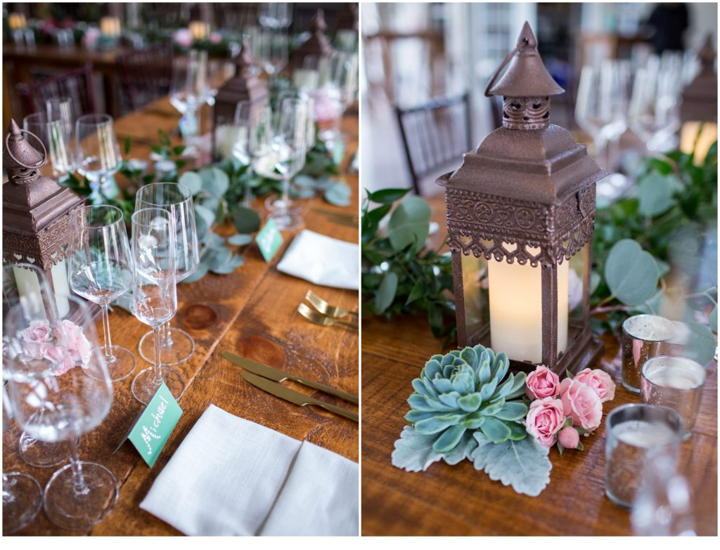 Table details - Jill and Kevin's Intimate Wedding at Hidden Pond, Kennebunkport