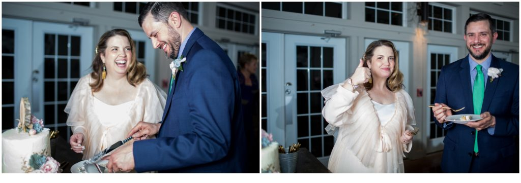 cake cutting - Jill and Kevin's Intimate Wedding at Hidden Pond, Kennebunkport