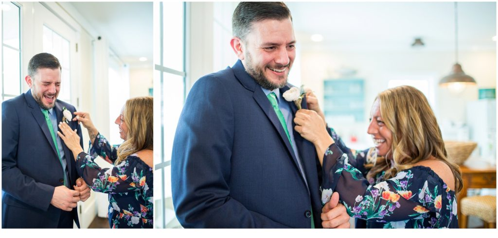 helping groom with boutonniere - Jill and Kevin's Intimate Wedding at Hidden Pond, Kennebunkport
