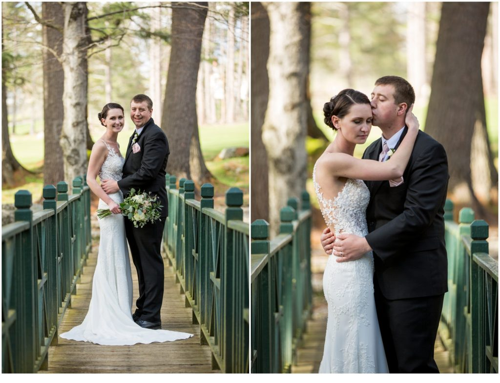 Bride and Groom in the trees - sweet spring wedding than The Bethel Inn