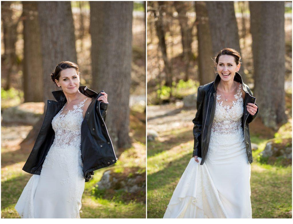 Bride in grooms jacket - sweet spring wedding than The Bethel Inn