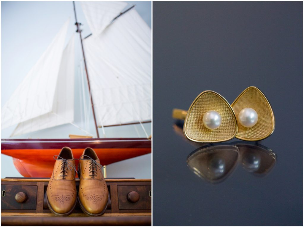Groom Details - Matt and Cait's nautical wedding at York Reading Room in Maine