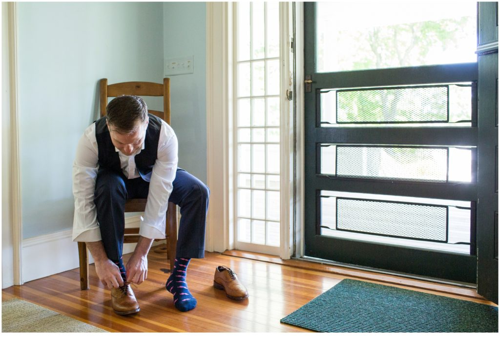 Groom Getting Ready - Matt and Cait's nautical themed, York Reading Room wedding in Maine