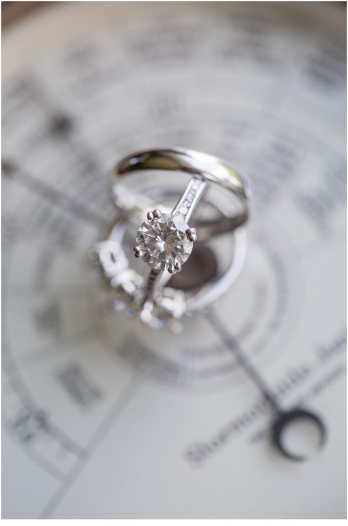 RIngs on nautical map - Matt and Cait's nautical wedding at York Reading Room in Maine