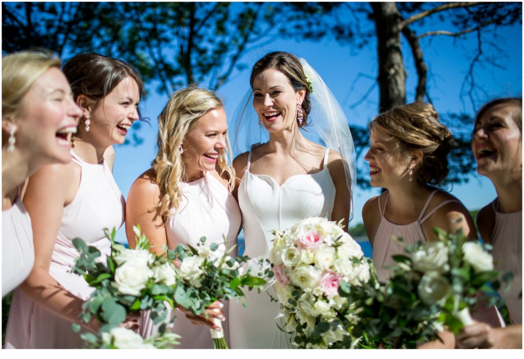 Bride and Bridesmaids - Matt and Cait's nautical wedding at York Reading Room in Maine