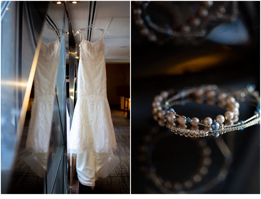 bride's dress and jewelry - A Summer Wedding at Boston's State Room
