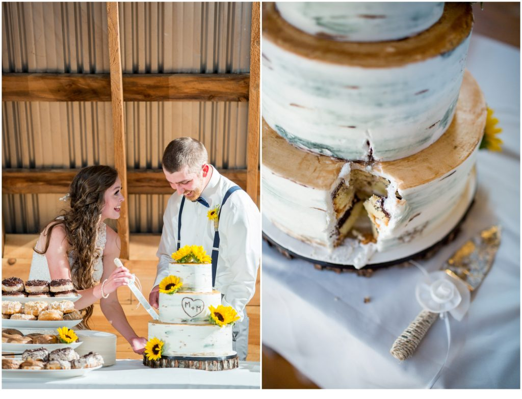 Cutting the Cake - Rustic, Country Maine Wedding