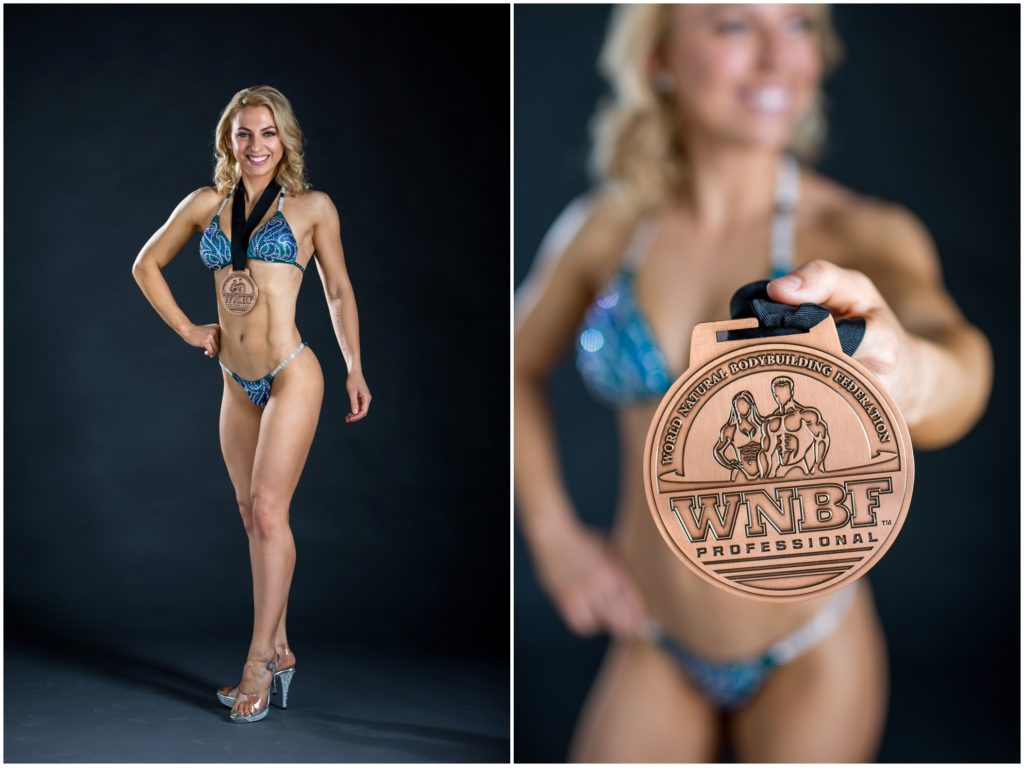 Fitness Shoot with WNBF Pro Bodybuilder, Shaina with Medal