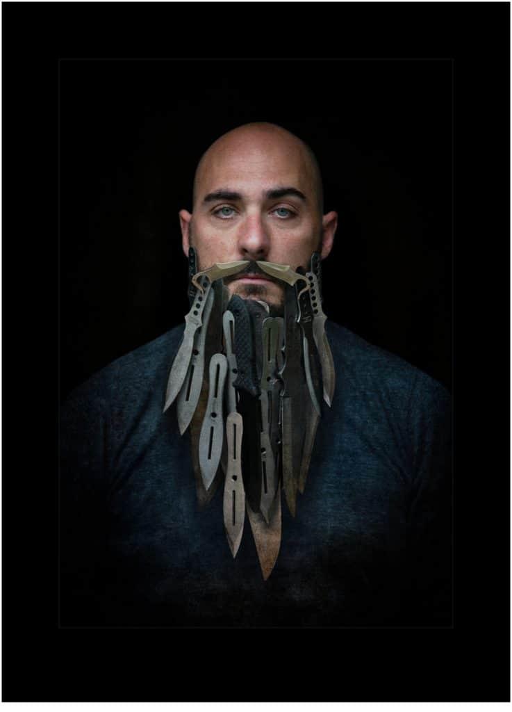 Steel - Knives in a man's beard concept shoot