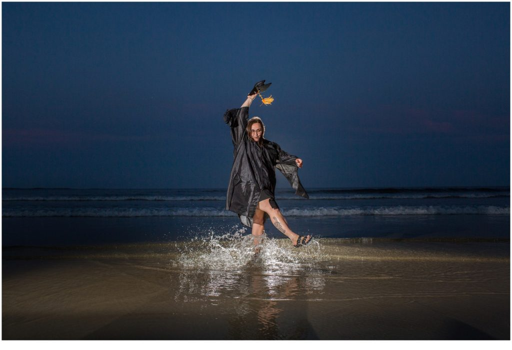 Cap and gown graduation portraits at Old Orchard Beach