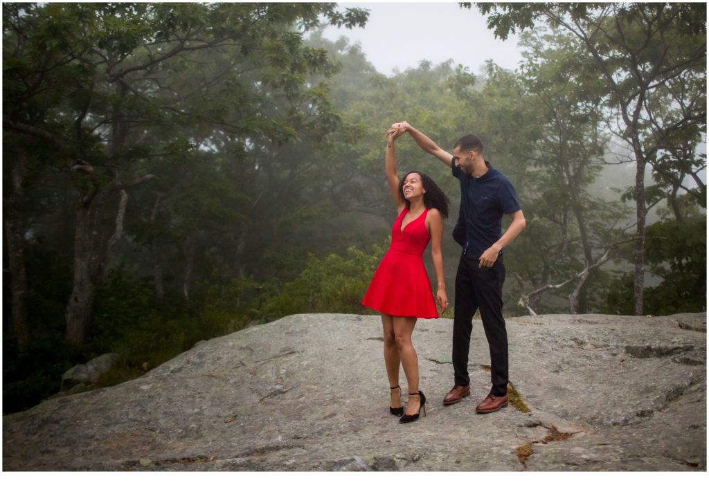 Mount Battie Engagement session with Bethany and Jesus
