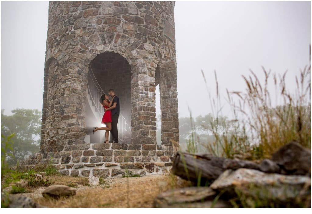 Mount Battie Engagement session with Bethany and Jesus in the stone tower.