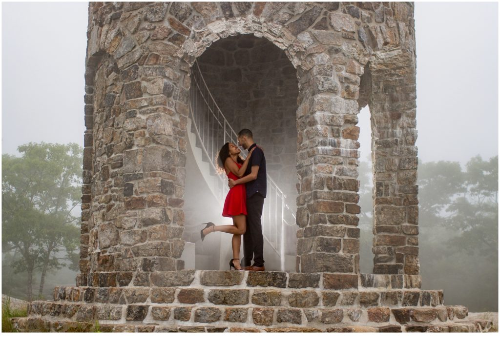 Mount Battie Engagement session with Bethany and Jesus in the stone tower