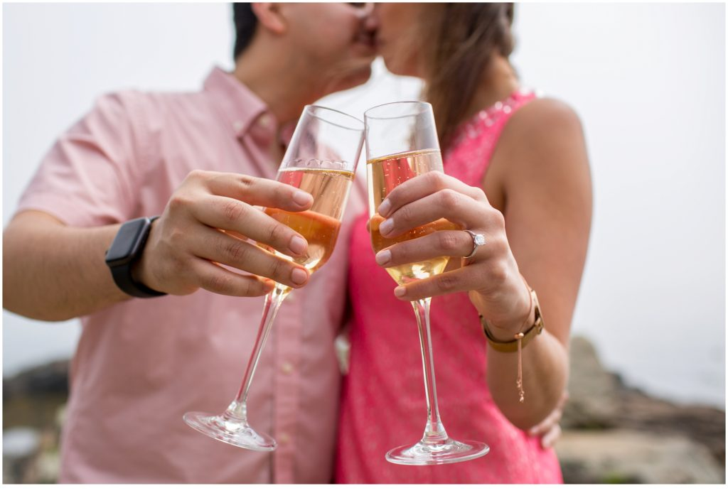 Proposal at Cliff House with champagne