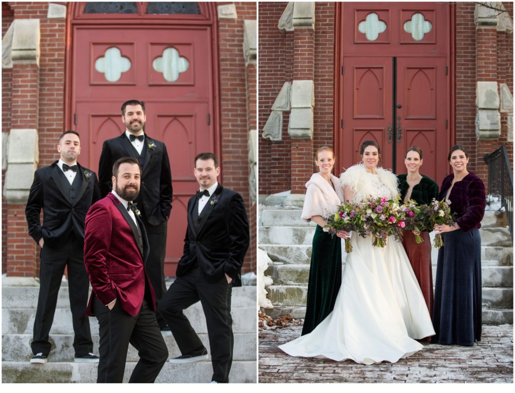 wedding party outside the Agora Grand - A Vintage-Inspired Winter Wedding at Agora Grand
