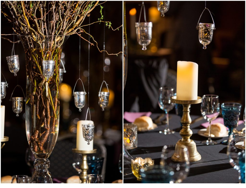 Reception details and candles - A Vintage-Inspired Winter Wedding at Agora Grand