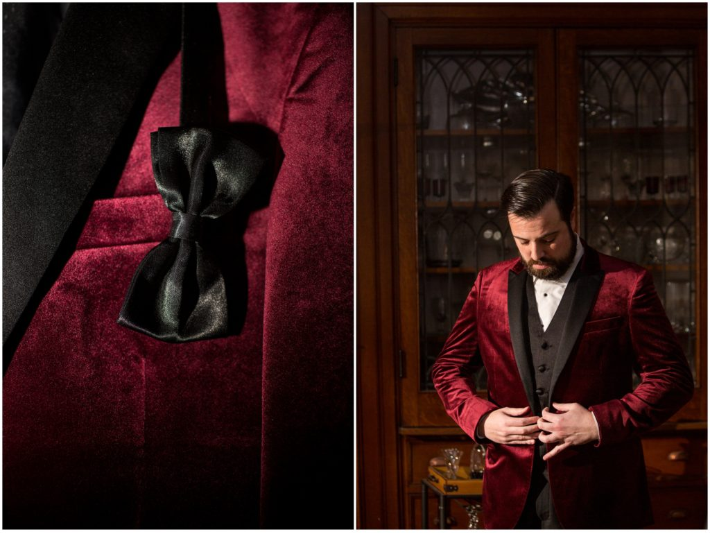 The groom in a red velvet suit - A Vintage-Inspired Winter Wedding at Agora Grand